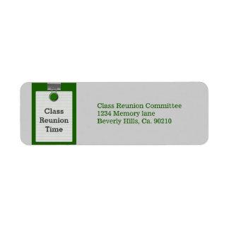 Metal Clip Notepaper Green Class Reunion Return Address Label