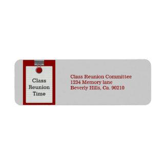 Metal Clip Notepaper Red Class Reunion Return Address Label