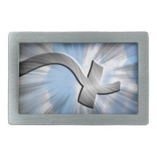 metal cross in the wind rectangular belt buckle