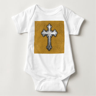Metal Cross on Gold Leather Baby Bodysuit