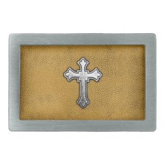 Metal Cross on Gold Leather Belt Buckle