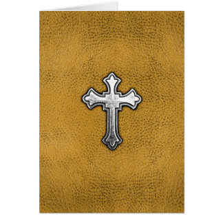 Metal Cross on Gold Leather Card