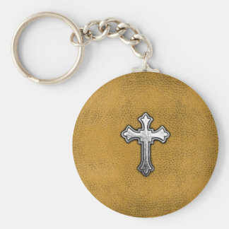 Metal Cross on Gold Leather Key Ring