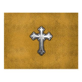 Metal Cross on Gold Leather Postcard
