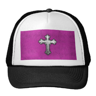 Metal Cross on Pink Leather Cap