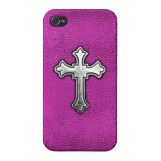 Metal Cross on Pink Leather Cover For iPhone 4