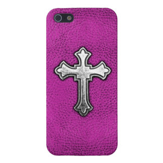 Metal Cross on Pink Leather iPhone 5 Covers