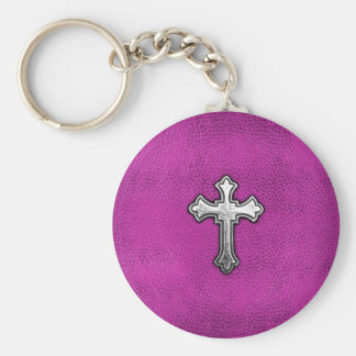 Metal Cross on Pink Leather Key Ring