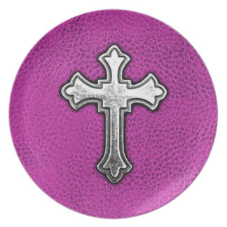 Metal Cross on Pink Leather Plate