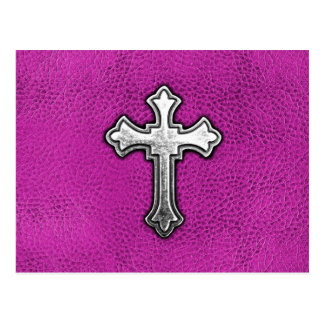 Metal Cross on Pink Leather Postcard