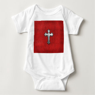 Metal Cross on Red Leather Baby Bodysuit