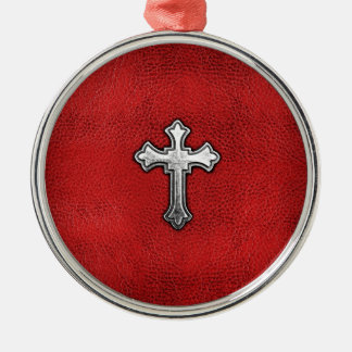 Metal Cross on Red Leather Christmas Ornament