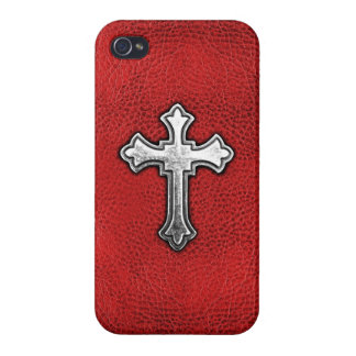 Metal Cross on Red Leather iPhone 4 Case