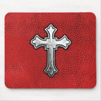 Metal Cross on Red Leather Mouse Mat
