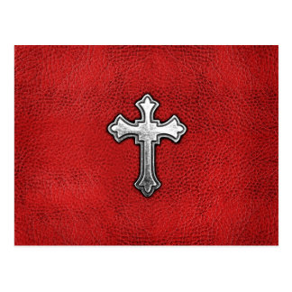 Metal Cross on Red Leather Postcards