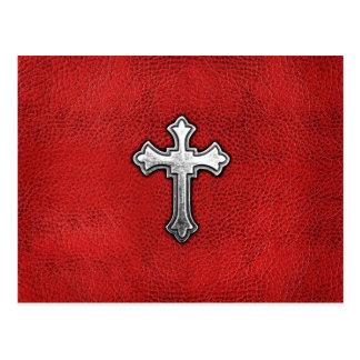 Metal Cross on Red Leather Postcard