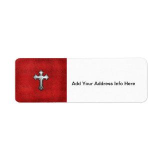 Metal Cross on Red Leather Return Address Label