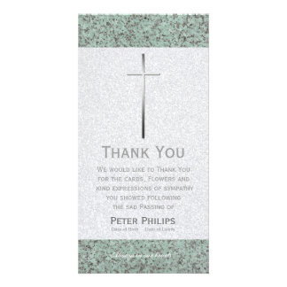 Metal Cross Stone 2 Funeral Thank You Photo Card