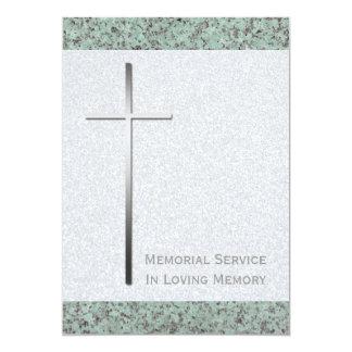 Metal Cross Stone 2 Memorial Service 13 Cm X 18 Cm Invitation Card