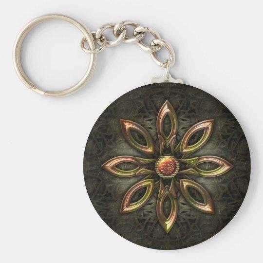 Metal Design Basic Round Button Key Ring