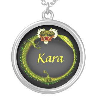 Metal Dragon Round Pendant Necklace