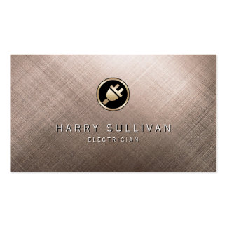Metal Electric Plug Icon Electrician Business Card