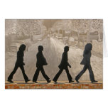 Metal Figures in Front Of Painted Mural ~ Abbey Rd Greeting Card