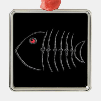 Metal Fish Bones Silver-Colored Square Decoration