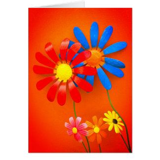 Metal Garden Flowers Card