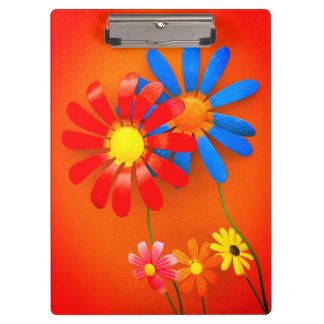 Metal Garden Flowers Clipboard