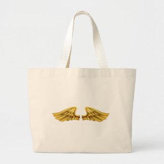 Metal Gold Wings Large Tote Bag