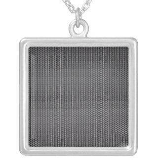 Metal Grate Mesh Square Pendant Necklace