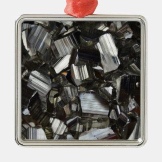 Metal Gray Shiny Quartz Crystals Christmas Ornament