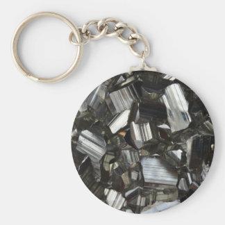 Metal Gray Shiny Quartz Crystals Key Ring