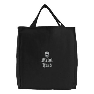Metal Head Embroidered Tote Bag