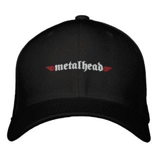 Metal Head Hat w/Skull on Back Embroidered Baseball Caps