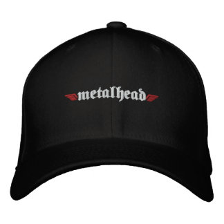 Metal Head Hat w/Skull on Back Embroidered Baseball Caps