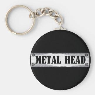 Metal Head Basic Round Button Key Ring