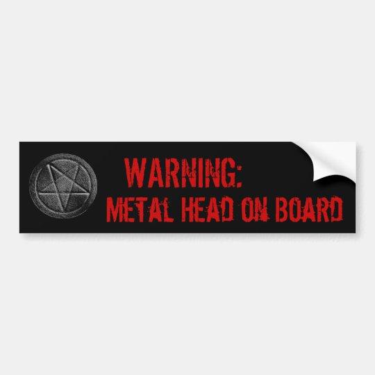 Metal Head on Board Bumper Sticker