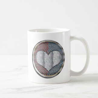 metal heart basic white mug