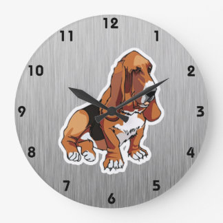 Metal look; Basset Hound Large Clock