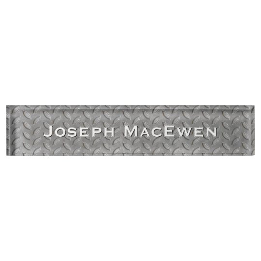 Metal Look Tread Plate Custom Desk Nameplate