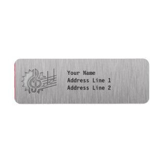 Metal-look Treble Clef Return Address Label