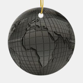 Metal Look World Globe Ornament
