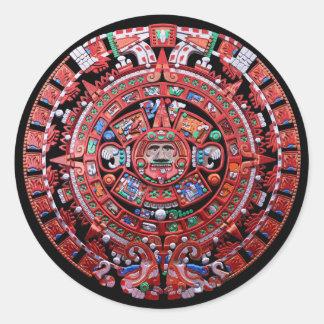 Metal Mayan Sunstone Calender Classic Round Sticker