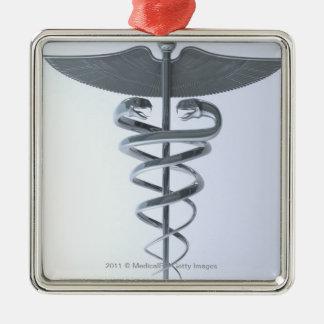 Metal medical caduceus christmas ornament
