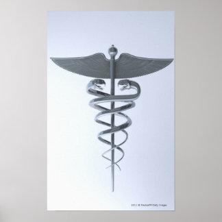 Metal medical caduceus poster