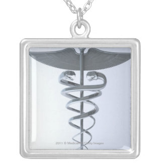 Metal medical caduceus silver plated necklace