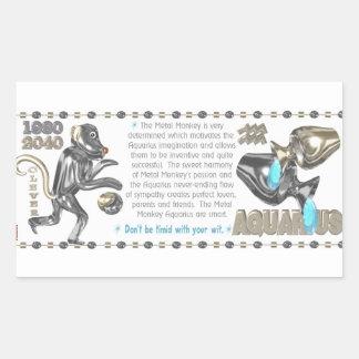 Metal Monkey zodiac born Aquarius Rectangular Sticker