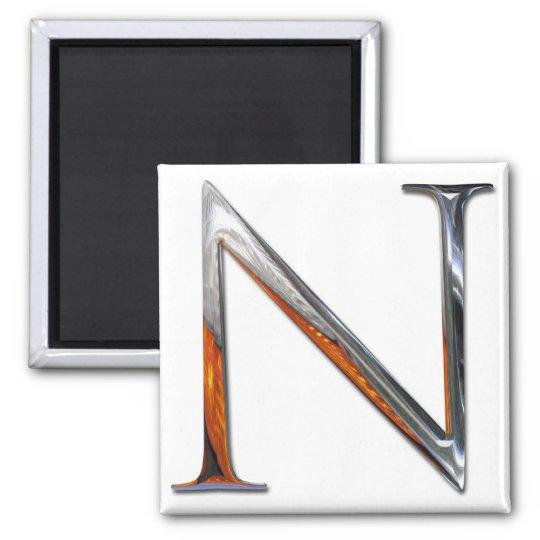 Metal N Monogram Magnet
